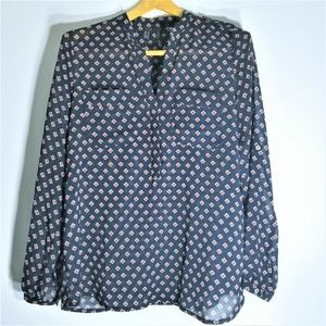 MANGO Navy Oversized Fit Button Down Blouse